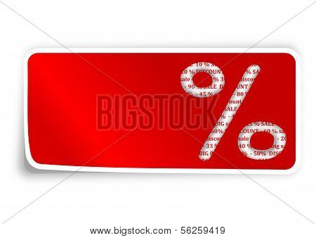 The label is a percentage sign on red background