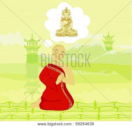 Monk Prays