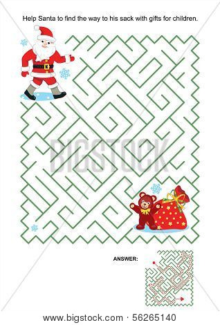 Maze game for kids - Santa and his sack