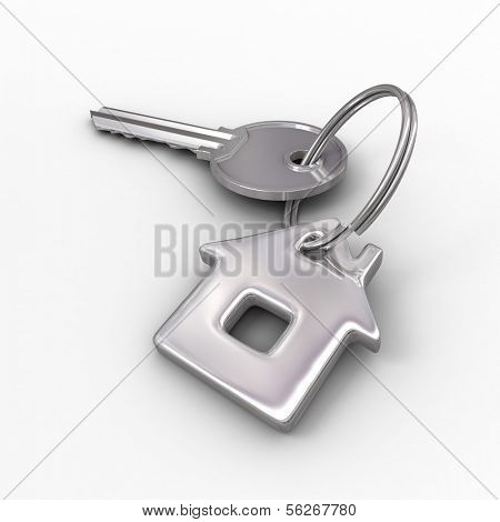 Key of dream house isolated on white. 3d illustration.