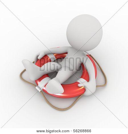 3d human on life preserver. 3d illustration.