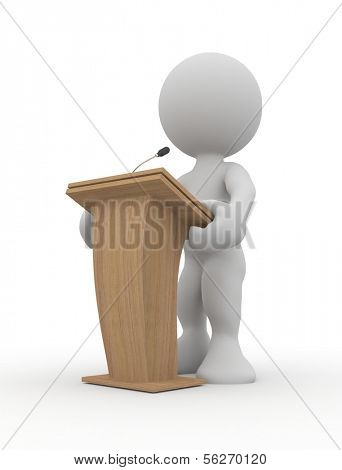 3d human speaking from a tribune. 3d illustration.