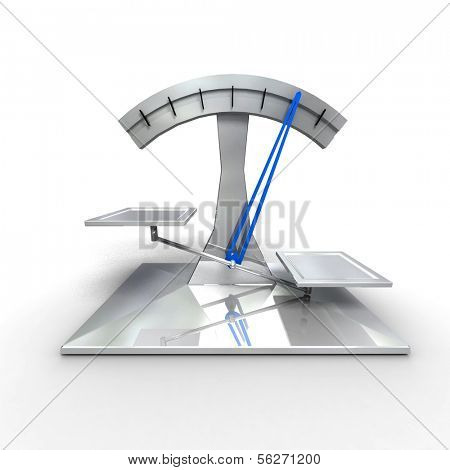 Modern scale on white background. 3d render