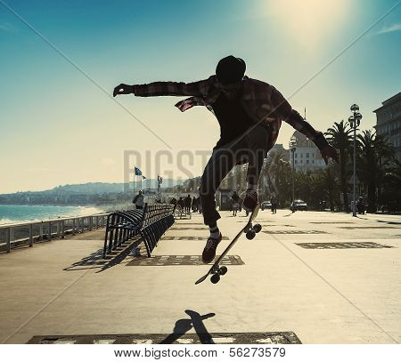 Silhouette Of Skateboarder