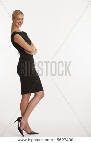 Business Woman Leaning On Copy Space