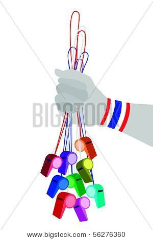 Human Hand Holding Group Of Thai Whistles