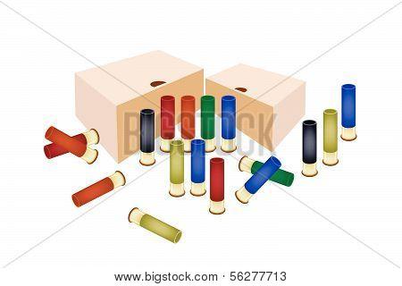 Boxes Of Shotgun Shells On White Background