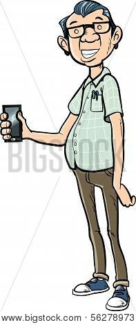 Tall cartoon nerd with a mobile phone. Isolated on white