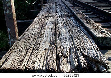 Weathered Wooden Railroad Bridge
