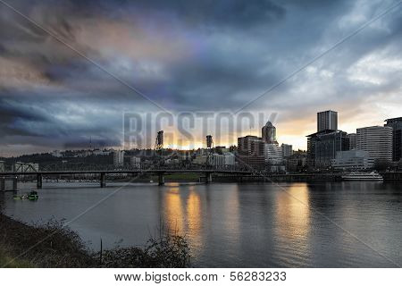 Sunset Over Portland Willamette River