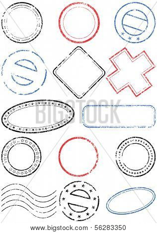 A set of different stamps. All vector objects and details are isolated and grouped. Stamps have transparent background. Colors and white background color are easy to remove, adjust or customize.