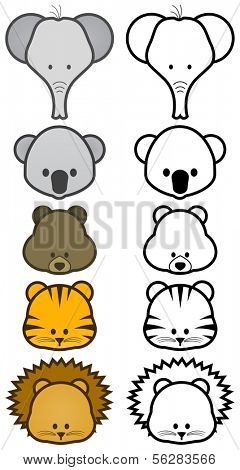Vector illustration set of different cartoon wild/zoo animals. All vector objects and details are isolated and grouped. Colors and transparent background color are easy to adjust.