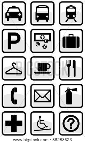Vector set of international direction signs. All objects and details are isolated and grouped. Color, background color and glare effect are easy to remove or adjust. Symbols are replaceable.