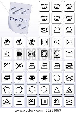 Vector illustration set of apparel care instruction symbols. All vector objects are grouped and tagged with a description of the symbol.