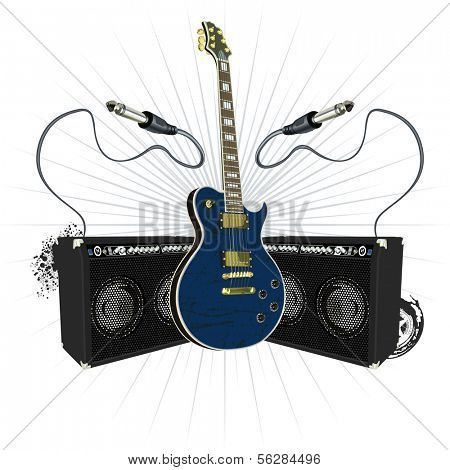 Guitar with socket jack and amplifiers. Does not contain gradient.