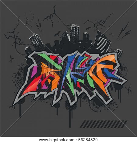 bright graffiti on grunge city backround (urban art).