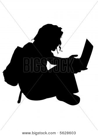 Man Sitting With Laptop