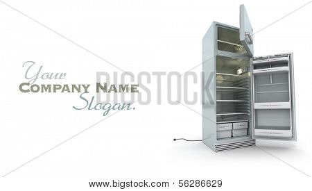 3D rendering of an open refrigerator in chrome against a white background
