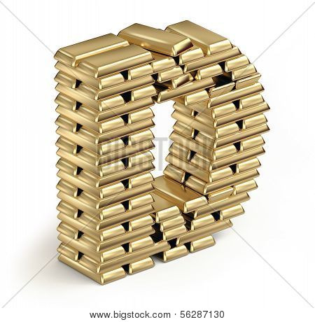 Letter D  from gold bars