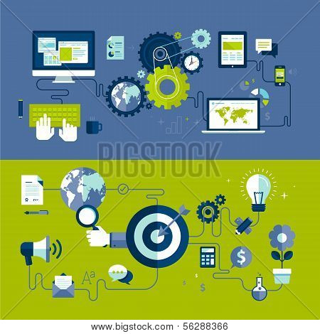 Flat design vector illustration concepts of responsive web design and internet advertising process