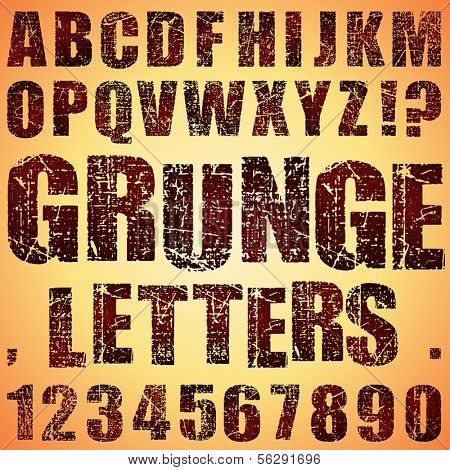 An Alphabet Set of Grunge Letters and Numbers