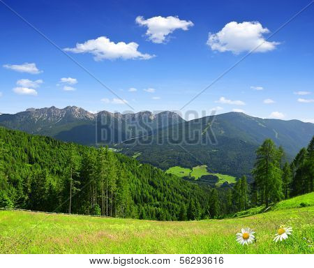 Beautiful mountain scenery, Bruneck, Italy Alps