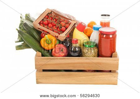 Wooden crate fresh vegetables and other dairy groceries