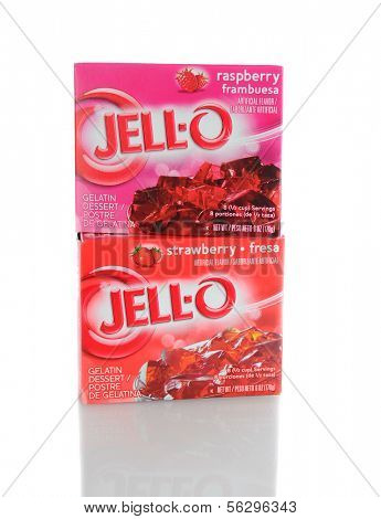 IRVINE, CA - January 21, 2013: 2 Boxes of Jell-O Dessert, Raspberry and Strawberry flavors.  Jell-O a brand of Kraft Foods produces a variety of gelatin desserts and puddings.