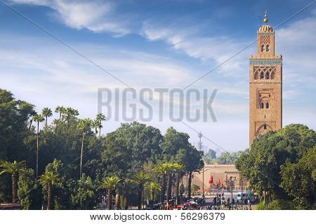Koutoubia - the largest mosque of the Marrakech at sunny day.