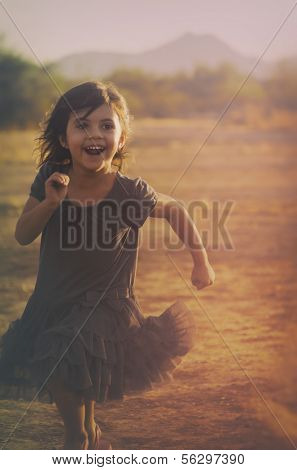 Art style photo of cute little girl running carefree with happy smile on face