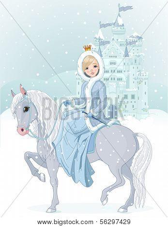 Winter design of Beautiful princess riding horse. Raster version.