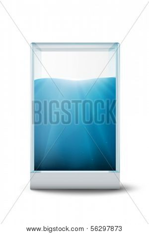 water in a glass cuboid - vector illustration