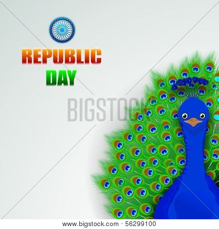 Happy Indian Republic Day concept with beautiful national bird peacock in dancing position on grey background.
