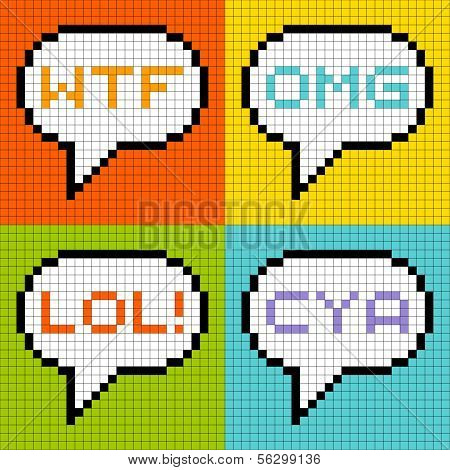 8-bit Pixel 3-letter Acronyms In Speech Bubbles
