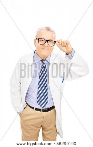 Smiling middle aged doctor with glasses, isolated on white background