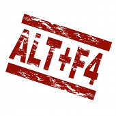 pic of f4  - Stylized red stamp showing the term ALT - JPG