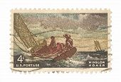 United States Stamp Winslow Homer Painting Breezing Up
