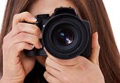 foto of scandinavian descent  - Attractive teenage girl using camera - JPG