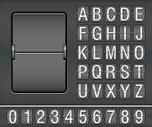 image of analog clock  - characters and numbers on mechanical scoreboard - JPG
