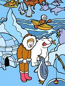 image of polar bears  - cartoon character image of man and animals next to an igloo - JPG