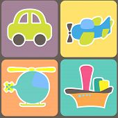 pic of loco  - seamless pattern with cartoon transport - JPG