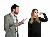 stock photo of lunate  - Businesswoman making a crazy gesture over white background - JPG