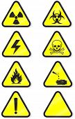 Vector illustration set of different hazmat warning signs. All vector objects are isolated and group