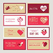 foto of cupid  - Set of vector Valentines day greeting card templates - JPG