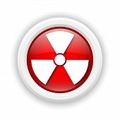 image of radium  - Round plastic icon with white design on red background - JPG