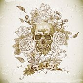 stock photo of day dead skull  - Skull with Roses Day of The Dead - JPG