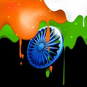 picture of ashoka  - Happy Indian Republic Day concept with Ashoka Wheel with clouds in national flag colors - JPG