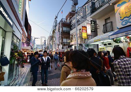 Tokyo - November 24 : People, Mostly Youngsters, Walk Through Takeshita Dori Near Harajuku