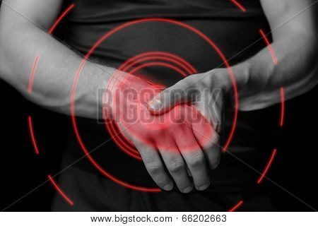 Acute Pain In A Wrist, Pain Area Of Red Color