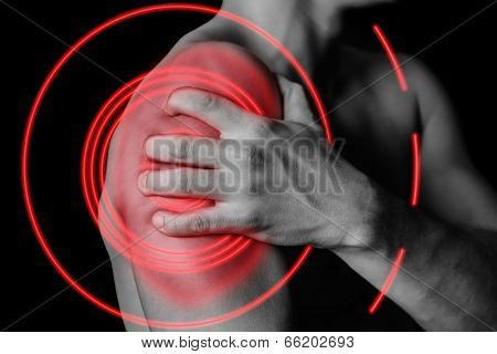 Pain In Shoulder, Pain Area Of Red Color